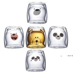 Cute Christmas Tree Mug Double Wall Glass Coffee Cups with Silocone Lid Snowflake Star Xmas Gift Wine Tea Milk Water SEAWAY FWF10032