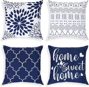 Pillow Cover Modern Decorative Pillows Cushion Covered Outdoor Square Blue Geometry For Sofa Bedroom Car Living Room