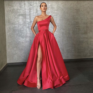 Red Evening Dresses 2021 With Dubai Middle East High Split Formal Gowns Party Prom Dress Sash Plus Size Vestidos De Festa Red Carpet