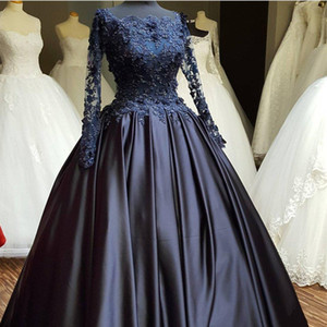 2021 Navy Blue Ballgown Wedding Dresses Long Sleeves Lace Applique Beaded Bateau Neckline Custom Made Wedding Bridal Gowns Vestido de novia