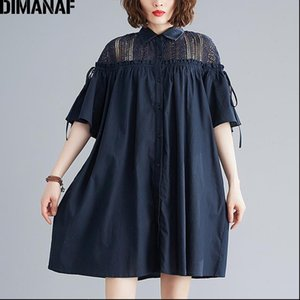 DIMANAF Summer Plus Size Blouse Shirts Women Clothing Lace Spliced Elegant Fashion Lady Tops Tunic Casual Loose Oversize Solid