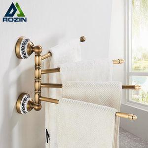 Rozin Luxury Bathroom Rotation Bars Asciugamani Portasciugamani montati a parete Ottone antico Asciugamani flessibile Asciugamani 4-bar 180 Gancio a torre di rotazione