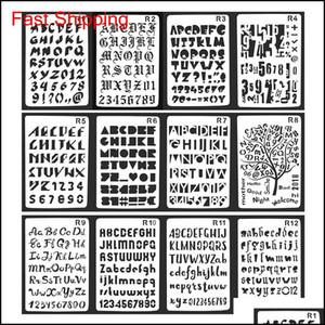 12Pcs Set Alphabet Series Bullet Journal Stencil Plastic Planner Journal Notebook Diary Scrapbooking Lace Ruler For Diy Supplies Yjjms 2Ufhx