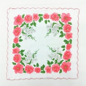 New Home Textiles hot 100% Cotton Cutter Ladies Craft Vintage Hanky Floral Wedding Handkerchief 30*30cm Random Color
