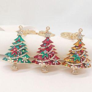 Creative 2021 Diamond-studded Oil Dripping Pendants Christmas Tree Decorations Keychain Pendant Xmas Ornaments Wholesale DHD10378