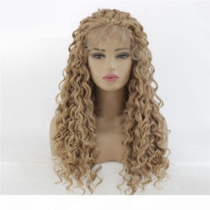 Afro Kinky Curly Synthetic Lacefront Wig Brown Simulation Human Hair Lace Front Wigs 14~26 inches Pelucas 191018-26 Epacket Shipping