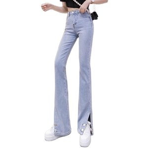 Women's Jeans Stretch Slit Fall 2021 High-waisted Slim Straight Flared Pants Clothing