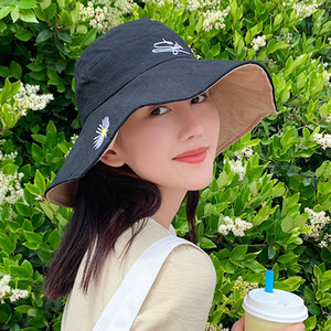 Double-Sided Little Daisy Big Brim Fisherman Hat Womens Spring and Summer Outdoor Sun Protection Sun Hat Fresh Bucket Hat Tide