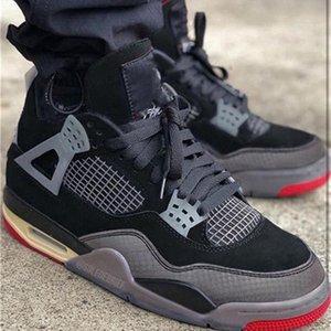 قبالة أصيلة 4 bred الرجعية wmns sp musllin كرة السلة أحذية أسود أحمر 4 ثانية الرجل الرياضة أحذية رياضية مع المربع الأصلي CV9388-001 حجم 36-46 عالية