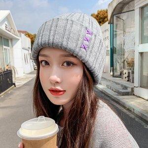 عارضة المرأة القبعات الصوف الإناث بيني الخريف الشتاء العلامة التجارية الجديدة طبقة مزدوجة سميكة 2021 محبوك الفتيات skullies beanies
