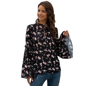 Mode Frauen Sexy V-Ausschnitt Lace Up Blumendruck Chiffon Hemd Top 2021 Frühling Sommer Neue Flare Hülse Beiläufige Lose Bluse Top