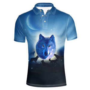 Classic Men's Jersey Polos Shirt Fashion Wolf Graphic Short Sleeve 3 Button T-Shirts Clothing