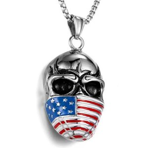 Stainless Steel Vintage Punk Rock America Flag Skull Mask Pendant Necklace Men Jewelry Gift For Him