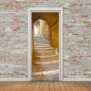 레트로 가로 문 벽화 터널 바닥 단계 3D 도어 스티커 DIY 자기 접착 방수 벽지 poste 홈 장식 373 v2