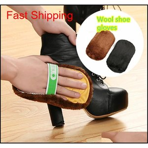 Multifunzionale 1pc Soft Peluche Pullh Shoes Shoes Mitt Brush PULIZIA Guanti Valigetta Shoe Care Tool Leather Jlllxa DH_Garden