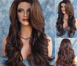 Haute Quanlity Cheveux Perruques brun foncé Brun foncé Crurly Crorly ondulé gluant résistant à la chaleur Synthétique Perruques pour femmes noires FZP19