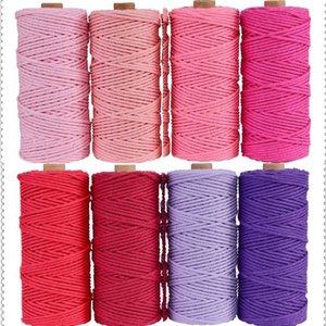 3mm 100% algodón cordón colorido cuerda cuerda beige torcido artesanía macrame cadena bricolaje hogar nuevo textil boda suministro decorativo 110 yardas 49 S2