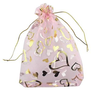 100 قطع 9x12 سنتيمتر القلب المطبوعة الوردي أكياس الأورجانزا الحقائب الحقيبة أكياس الأورجانزا الرباط الحقائب الزفاف تفضل الحلوى هدية