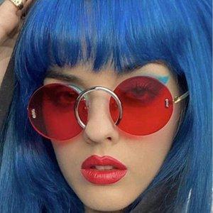 Fashion Unique Naso Anello Occhiali da sole rotondi Donne Vintage Rimless Clear Ocean Lente Occhiali da uomo Occhiali da sole Occhiali da sole Shades UV400