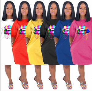 Loose Plus Size Dresses Females Fashion Solid Color Casual Clothes Womens 3D Lips Printing Tshirt Dress Summer Designer Crew Neck