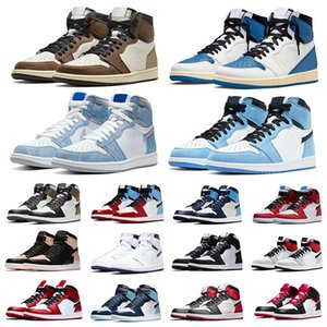 Jumpman 1 Travis scotts x Fragment 1s basketball shoes university blue Twist Obsidian Hype Royal Black toe banned Fearless trainers sneakers
