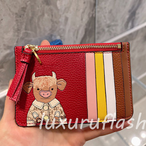 Mini Red Wallet Designers Luxurys Card Bag Cartoon Pig Luxurys Leather Zipper 2021 New Cattle Coin Purse 2021 Christmas and New Year Styles