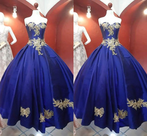 2021 New Gold Floal Applique Prom Formal Dresses Princess A-line Royal Blue Satin Strapless Evening Gowns Elegant Vestidos De Quinceanera