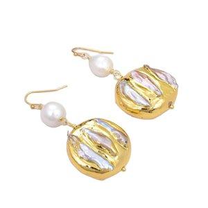 GuaiGuai Jewelry Cultured White keshi Baroque Pearl Biwa Pearl Nugget Dangle Hook Earrings Handmade For Women Real Gems Stone Lady Fashion Jewellry