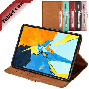 Zipper Leather Tablet Case for Apple iPad Pro 11 iPad Air 3 10.5 iPad 10.2 9.7 Galaxy Tab S5e 10.5 T720 Solid Color Calfskin Flip Cover Case