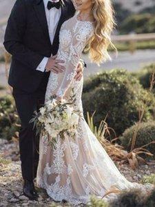 2021 Yeni Mermaid Aplikler Uzun Kollu Boho Düğün ES Zarif Şampanya Dantel Gelin Parti Vestidos De Mariage W51T