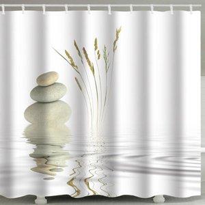 Shower Curtains Zen Stone 3d Curtain Bathroom Water Ripple White Hook Polyester Fabric Waterproof Bath Screen Home Decor