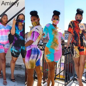 Women Tracksuit Shorts Outfits Tie Dye With Face Mask Shirt Top + Pants 2 Piece Pants Set Ladies Sweatsuits Clothes 125