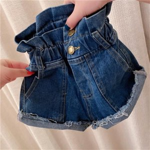 INS Fashion kids denim hot shorts 2020 summer new girls ruffle high waist jean shorts children hole tassel casual cowboy short pants
