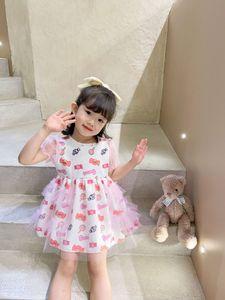 INS new Girls candy printed dress 2021 summer children gauze puff sleeve princess dress Kids pink cake tutu dress A5893