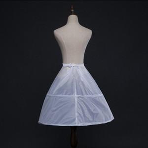 Flower Flower Girls 2 Hoops White Underskirt 65cm Wedding Petticoat Children Kids Elastic Waist Drawstring One Layer Crinoline