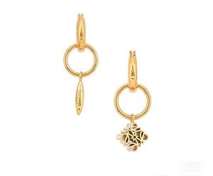 Loew Luoyi 21 spring and summer female anagram asymmetric metal Earrings Yiwei gold geometric Earrings5