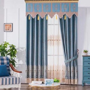 Curtain & Drapes Custom High-end Jacquard Velvet Water-soluble Embroidery Curtains For Bedroom Living Room Villa Tulle Valance