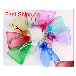 Wholesale 7*9cm Jewelry Bags Mixed Organza Jewelry Wedding Party Favor Xmas Gift Bags Purple Blue Pink Yellow Black qylXUr queen66