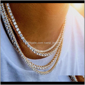 Mens Diamond Iced Out Tennis Chain Necklace Silver Rose Gold Chain Hip Hop Necklace Jewelry 3Mm 4Mm 5Mm Yb1C0 Aswa0