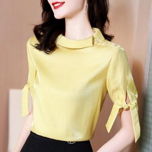Women's Blouses & Shirts 2021 Summer Style Foreign Chiffon Shirt Fashion Sweet Blouse Covering Belly Was Thin Short-sleeved T-shirt