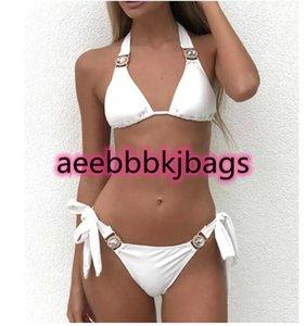 Sexy Knot bikini Set High Waist Swimwear Women Halter Two Pieces Biquini Swim Bathing Suit Bandage Swimsuit Bikinis monikini
