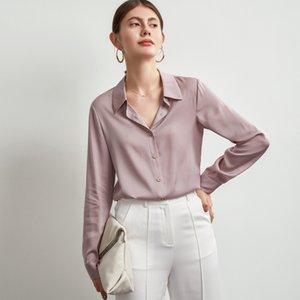 92% Silk 8% Spandex Women's Shirt Turn Down Collar Long Sleeves Elegant Office Lady Fashion Work Blouse Tops