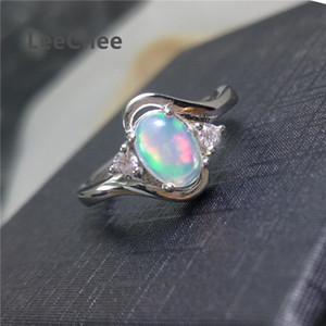Empty 100% Natural Opal Ring for Women Betting Commitment Poison 5*7 Mm Colorful Gemstone Fine Jewelry Real 925 Sterling Sier