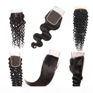 8A Cheap Brazilian Human Hair Closure 4*4 Waterwave Peruvian Hair Deep Body Loose Wave Straight Free Part Swiss Lace Closure Free Shipping