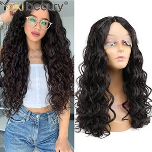 22inches Kinky Curly Wig Long Blakc Wig Middle Part Synthetic Deep Wave Lace Front Wigs For Black Women By Yaki Beautyfactory direct