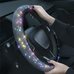 Bling Rhinestones Steering Wheel Cover with Crystal Diamond Sparkling Car Breathable Anti-Slip Steering Wheel Protector for Women Lady 38cm