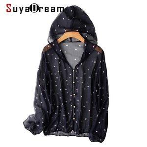Chaquetas de mujer SuyaDream Mujer con capucha Camisa con capucha 100% Seda Mangas largas Puntos Imprimir Transparente Black 2021 Primavera Outwear