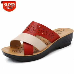 2020 Fashion Summer Shoes Women Sandals Soft Casual Mother Shoes Holiday Women Beach Slippers Wedge Heels Sandals 4cm A2255 #lz7u