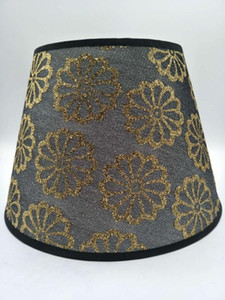 E27 Art Deco lamp shade for table lamp bedroom shade round black print fabric lampshade modern style cover for desk