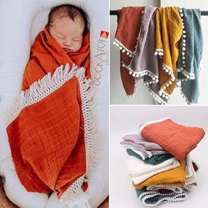 Organic Cotton Muslin Blanket Double Gauze Bath Towel Baby Tassel Blankets Newborn Big Diaper Swaddle Wrap Feeding Photo Props